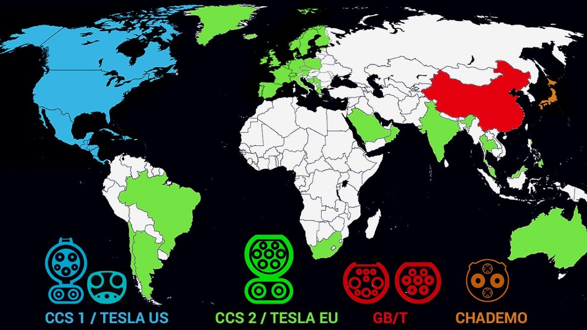 EV Charging plugs around the globe by country